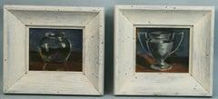 Pair Impressionist Urns Still Life oil Paintings 1940