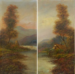 Pair Landscape Oil Paintings signed Trent British early 20th century
