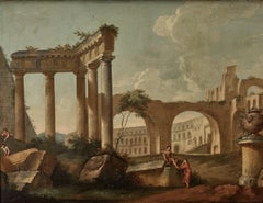 Pair of 18th century Italian paintings of landscapes with classical ruins
