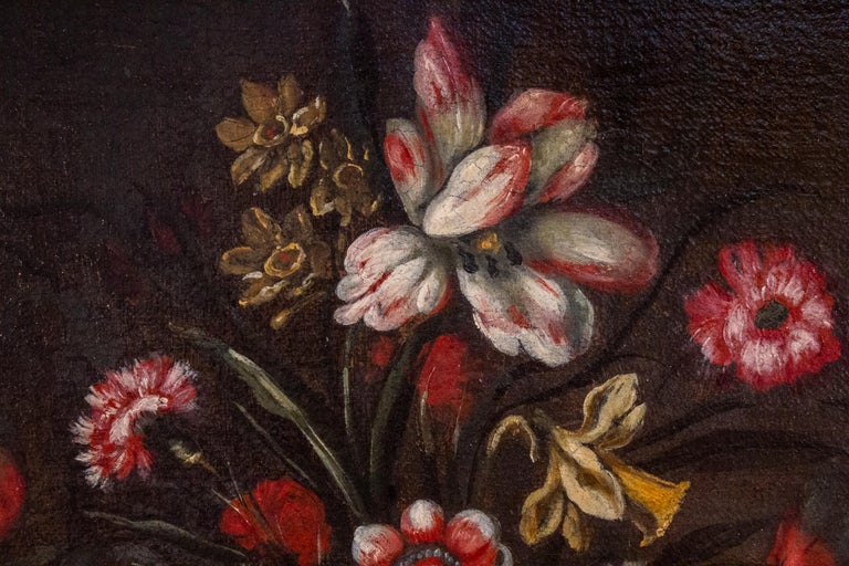 Pair of 18th century Italian Still Life Paintings of Flowers   For Sale 7