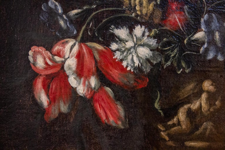 Pair of 18th century Italian Still Life Paintings of Flowers   For Sale 8