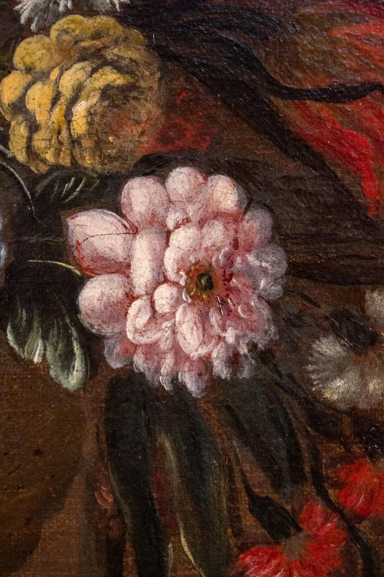 Pair of 18th century Italian Still Life Paintings of Flowers   For Sale 2
