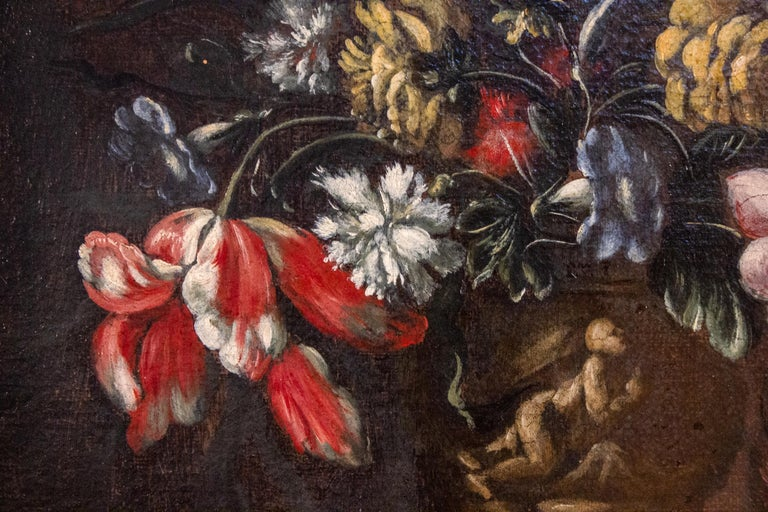 Pair of 18th century Italian Still Life Paintings of Flowers   For Sale 4