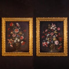 Pair of 18th century Italian Still Life Paintings of Flowers