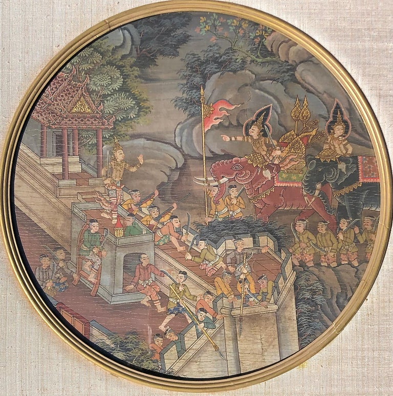 Thai Warriors Paintings Pair - Gold Landscape Painting by Unknown