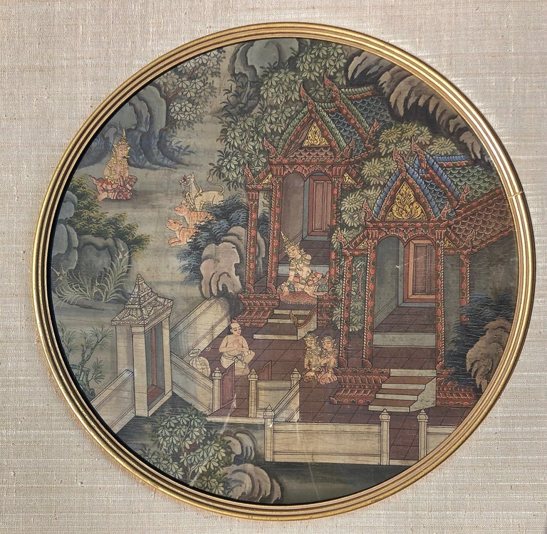 Pair of Thai paintings. Painting size 16.5