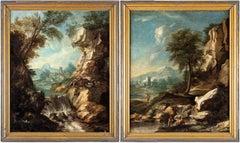 Pair of 18th century Venetian figure painting - Landscape - Oil on canvas Venice
