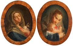 Pair of 18th century Venetian figure paintings - Virgin Child - Oil on canvas