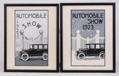 Pair of 1923 Automobile Show Original Illustrations