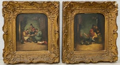 "Pair of 16th to 17th Century ""Gambling"" Oil Paintings After Bruegel"