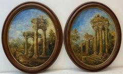 Pair of 19th Century Shepherd & Shepherdess Amongst Ancient Ruins Oil Paintings