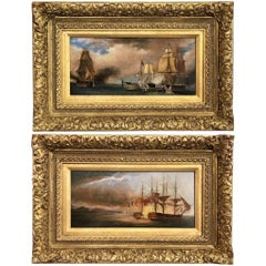 Pair of 19th Century Ship Battle Scenes