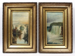 Pair of Antique Hudson River School Oil Paintings of Niagara Falls