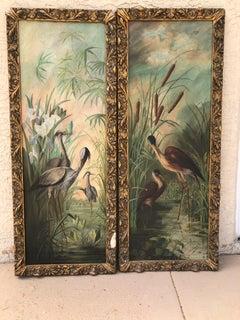 Pair of Antique Florida Bird Paintings