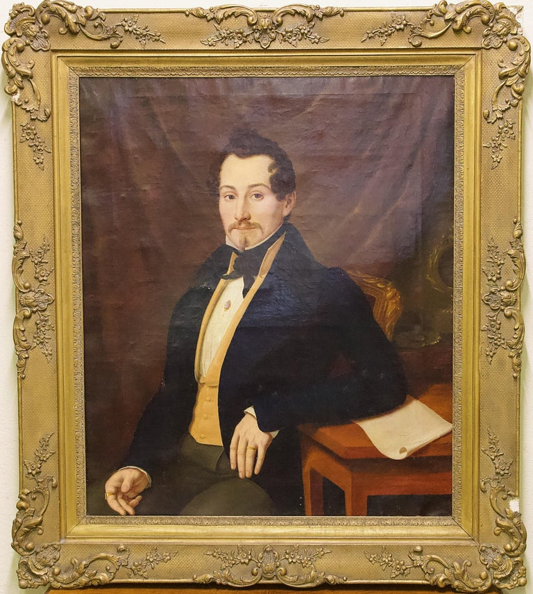 Pair of Antique Paintings, Oil on Canvas, Portraits. Around 1850.  For Sale 8
