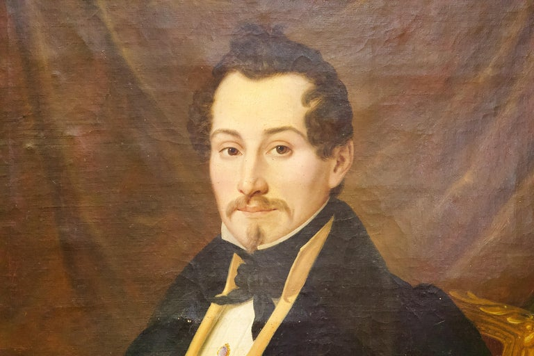 Pair of Antique Paintings, Oil on Canvas, Portraits. Around 1850.  For Sale 10
