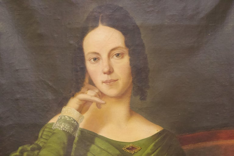 Pair of Antique Paintings, Oil on Canvas, Portraits. Around 1850.  For Sale 1