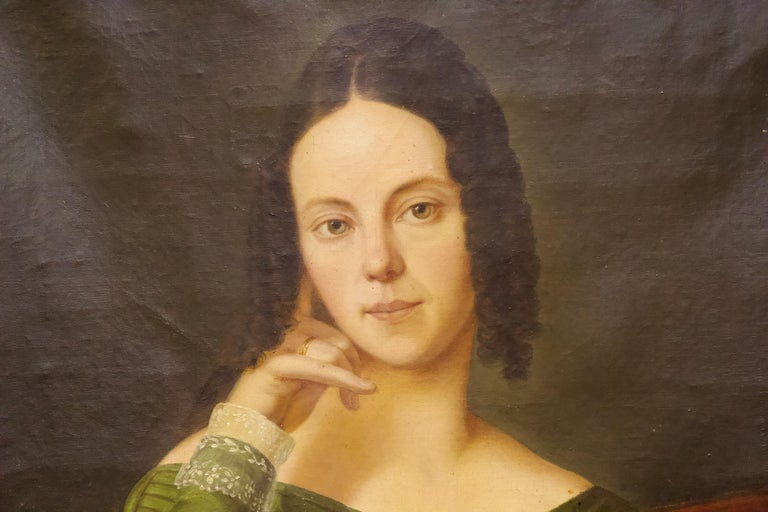 Pair of Antique Paintings, Oil on Canvas, Portraits. Around 1850.  For Sale 2