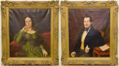 Pair of Antique Paintings, Oil on Canvas, Portraits. Around 1850.