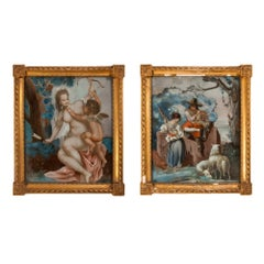 Pair of antique reverse glass paintings