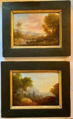 Pair of Early 19th century European river landscape with castle, figures,ruins