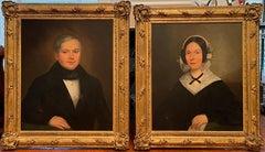 Pair of Folk Art Portrait Oil Paintings
