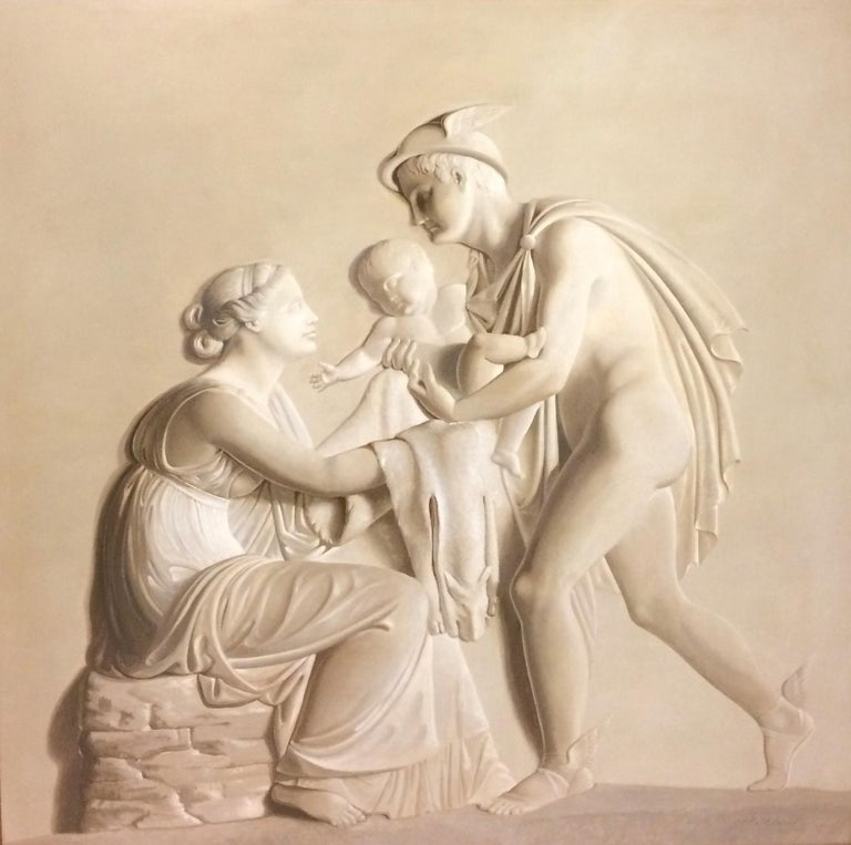 Pair of Large Neoclassical Grisaille Paintings after Thorvaldsen reliefs 1920 For Sale 7