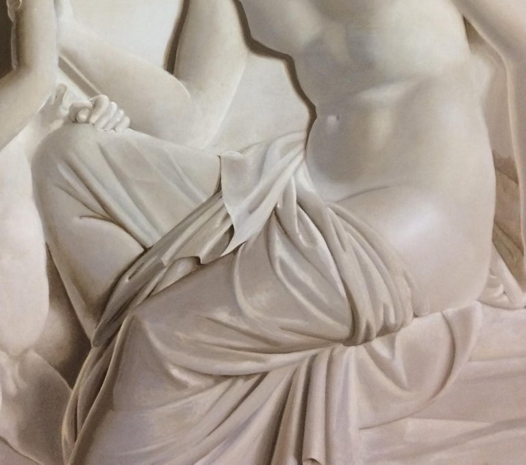 Pair of Large Neoclassical Grisaille Paintings after Thorvaldsen reliefs 1920 For Sale 8