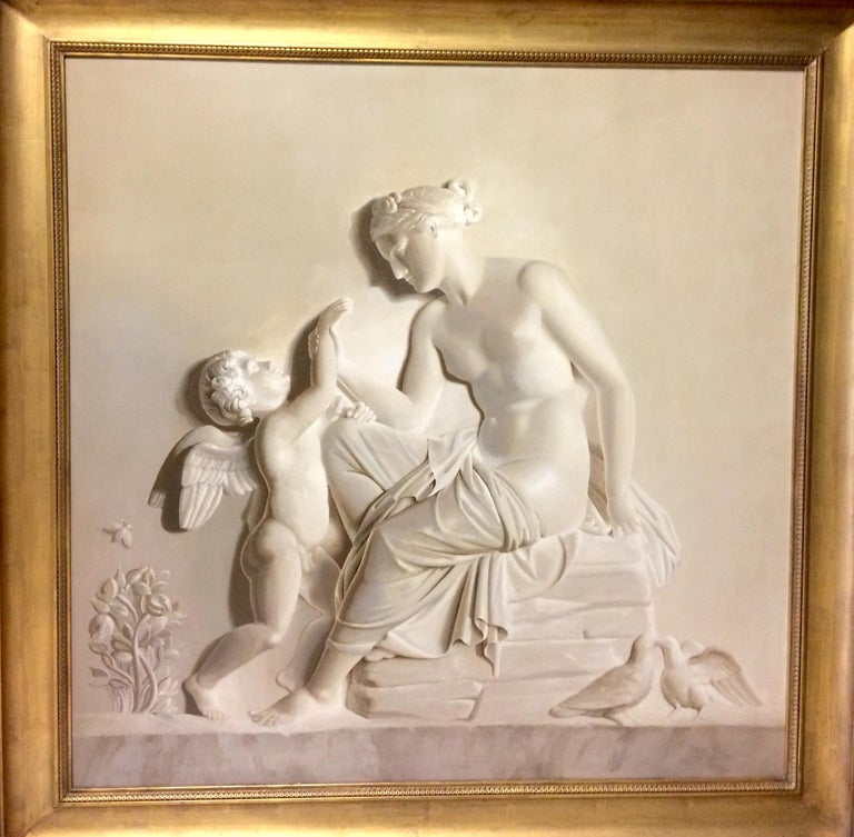 Pair of Large Neoclassical Grisaille Paintings after Thorvaldsen reliefs 1920 For Sale 9