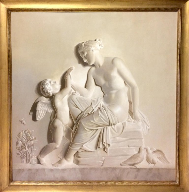 Pair of Large Neoclassical Grisaille Paintings after Thorvaldsen reliefs 1920 For Sale 10