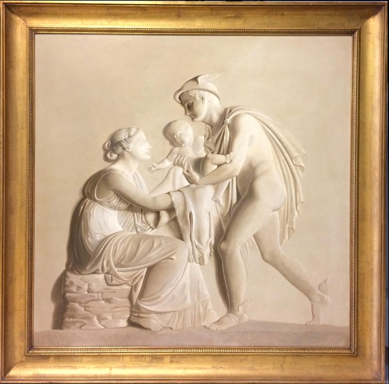 Pair of Large Neoclassical Grisaille Paintings after Thorvaldsen reliefs 1920 - Beige Figurative Painting by Unknown