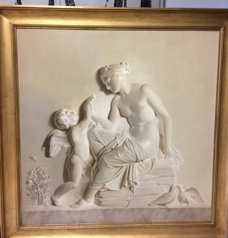Early 20th century  Italian  Grisaille Paintings , oil on wood after a famous Thorvaldsen reliefs . Mythological scene with a Finely carved and   gilt- wood frame. - Cupid Complains to Venus about a Bee Sting. - Mercury Brings Bacchus to Ino