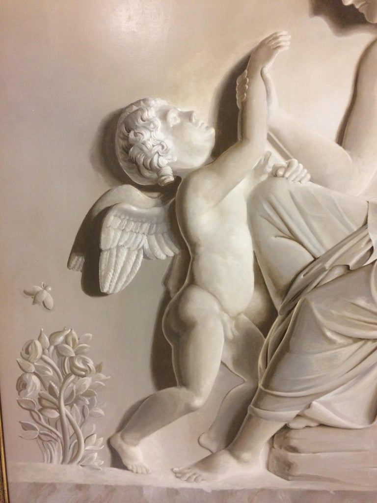 Pair of Large Neoclassical Grisaille Paintings after Thorvaldsen reliefs 1920 For Sale 1