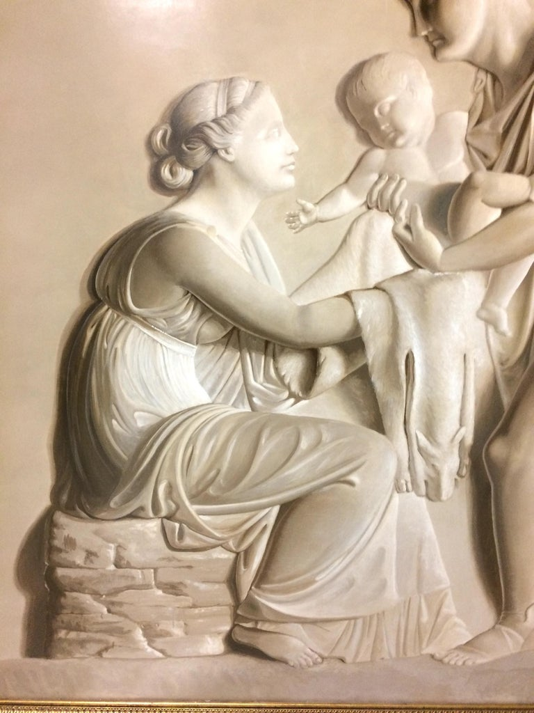 Pair of Large Neoclassical Grisaille Paintings after Thorvaldsen reliefs 1920 For Sale 2