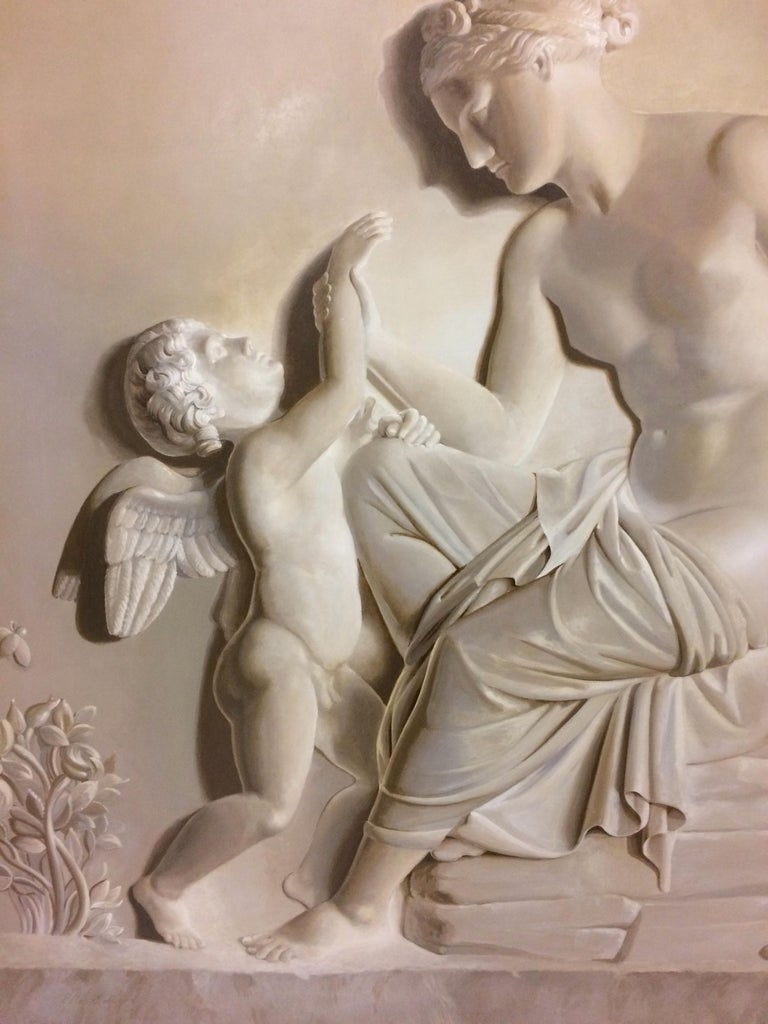 Pair of Large Neoclassical Grisaille Paintings after Thorvaldsen reliefs 1920 For Sale 3