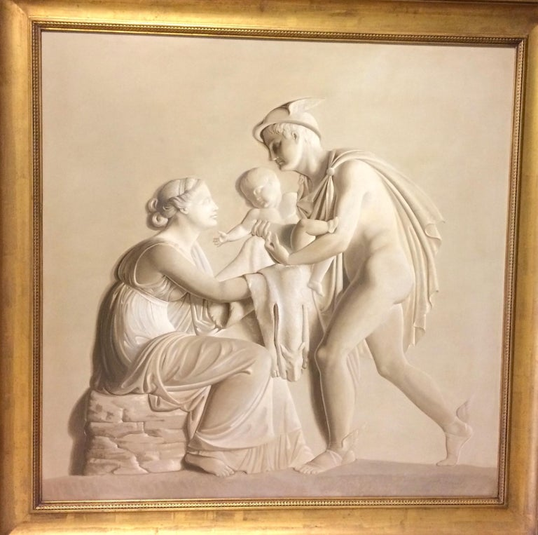 Pair of Large Neoclassical Grisaille Paintings after Thorvaldsen reliefs 1920 For Sale 4