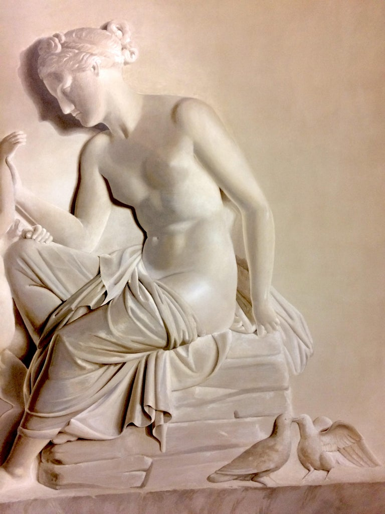 Pair of Large Neoclassical Grisaille Paintings after Thorvaldsen reliefs 1920 For Sale 5