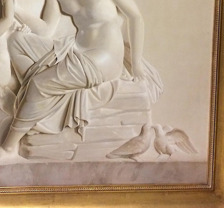 Pair of Large Neoclassical Grisaille Paintings after Thorvaldsen reliefs 1920 For Sale 6