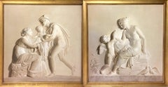 Pair of Large Neoclassical Grisaille Paintings after Thorvaldsen reliefs 1920