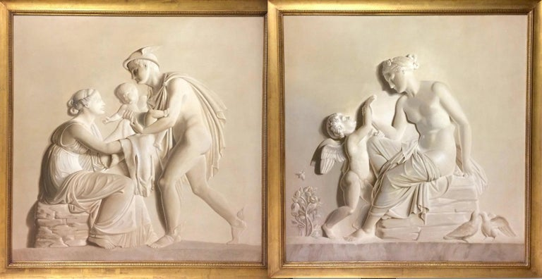 Unknown Figurative Painting - Pair of Large Neoclassical Grisaille Paintings after Thorvaldsen reliefs 1920