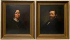 Pair of Mid 19th Century Oil Portraits of a Man and Woman C.1850