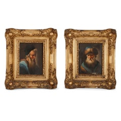 Pair of miniature oil on panel paintings of rabbis
