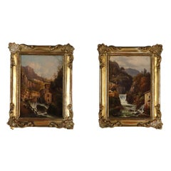Pair of Mountain Landscapes Oil on Cardboard 19th Century