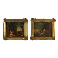 Pair of Mythological Scenes Oil on Board 17th-18th Century
