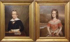Pair of Oil Portrait Paintings of Children In North Carolina circa 1830