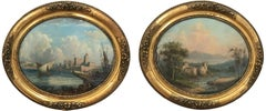 Pair of Ovals 19th Century Continental School Landscape and Seascape Paintings