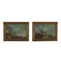 Pair of Paintings with Ruins and Figures Venetian School 19th Century