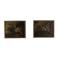 Pair of Still Lives with Flowers Oil Paintings 18th Century