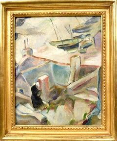 Paris Modern Cubist Abstracted Harbor View Original Antique Oil Painting