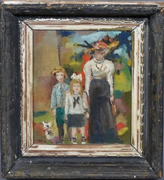 Paris Modern School, Impressionist Family Portrait, Signed Original Oil Painting